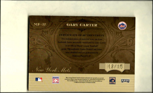 2005 Absolute Memorabilia Marks of Fame Swatch Triple Spectrum Prime #MF37 Gary Carter FG-J-P/15 back image