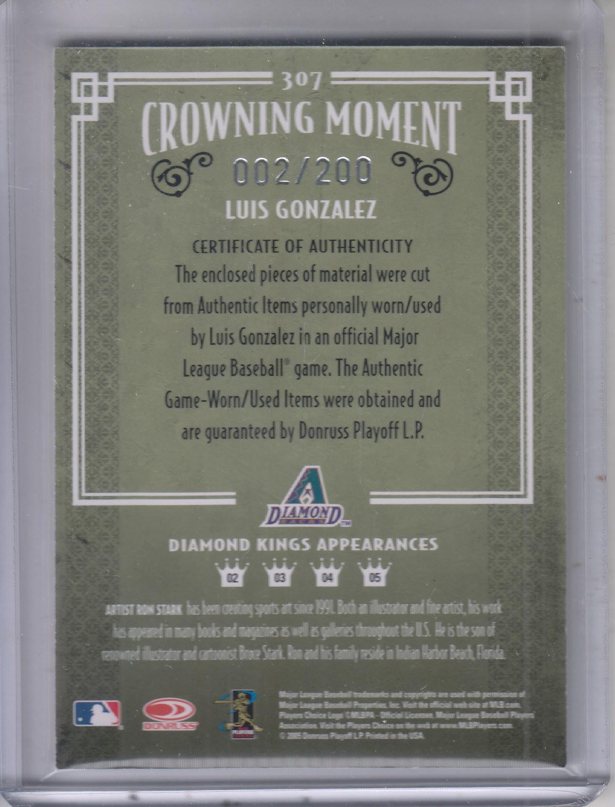 2005 Diamond Kings Materials Bronze #307 Luis Gonzalez Jsy-Jsy/200 back image