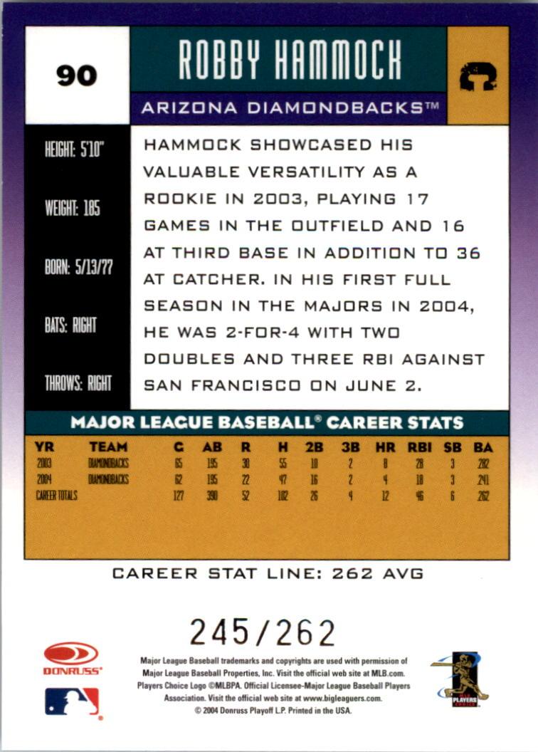 2005 Donruss Stat Line Career #90 Robby Hammock/262 back image