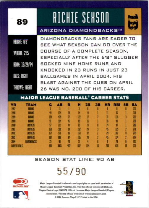 2005 Donruss Stat Line Season #89 Richie Sexson/90 back image