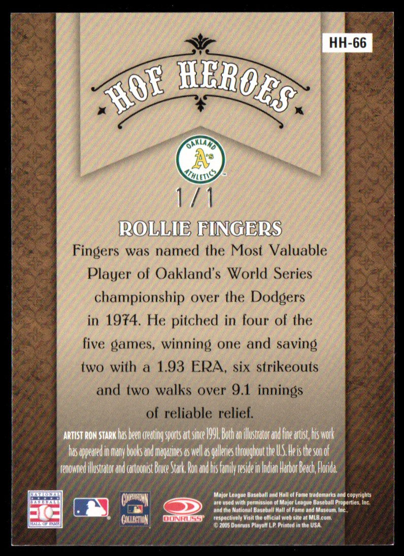 2005 Diamond Kings HOF Heroes Framed Blue Platinum #HH66 Rollie Fingers back image