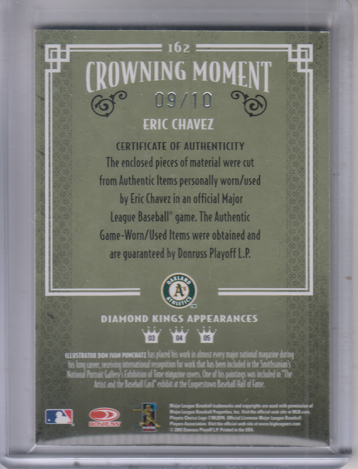 2005 Diamond Kings Signature Materials Framed Green #162 Eric Chavez Bat-Jsy/10 back image