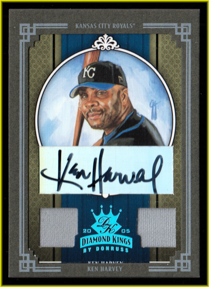 2005 Diamond Kings Signature Materials Framed Green Platinum #351 Ken Harvey Jsy-Jsy
