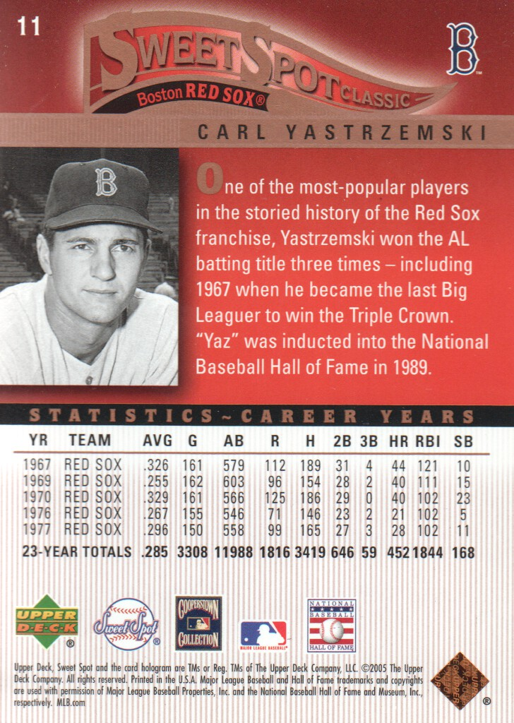 2005 Sweet Spot Classic #11 Carl Yastrzemski back image