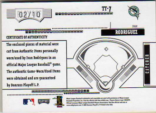 2005 Absolute Memorabilia Tools of the Trade Swatch Quad Prime Red #7 I.Rod M's B-J-J-S/10 back image