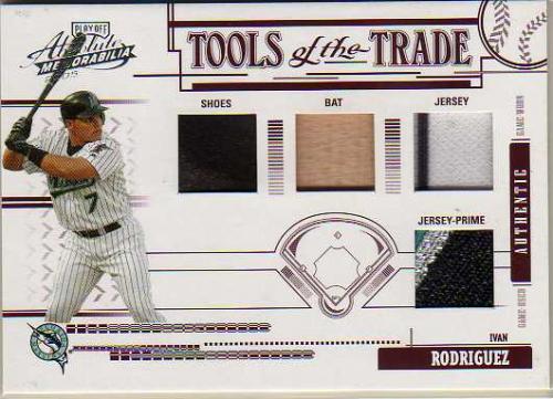 2005 Absolute Memorabilia Tools of the Trade Swatch Quad Prime Red #7 I.Rod M's B-J-J-S/10