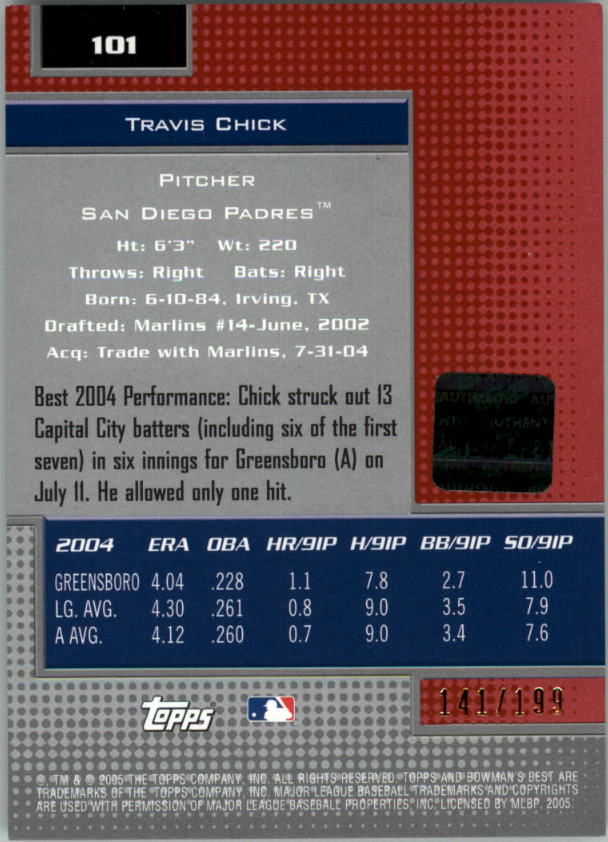 2005 Bowman's Best Red #101 Travis Chick FY AU back image