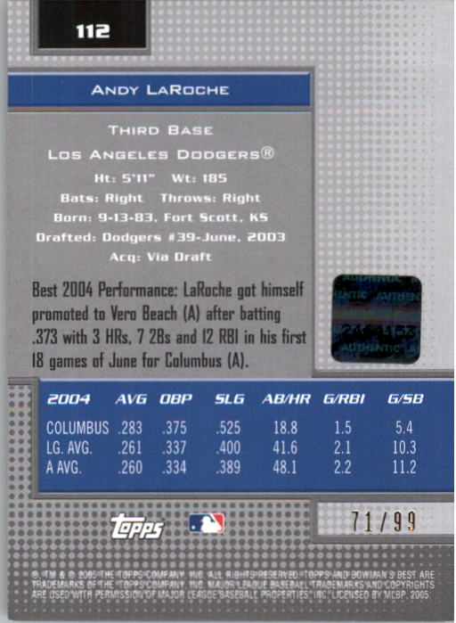 2005 Bowman's Best Silver #112 Andy LaRoche FY AU back image