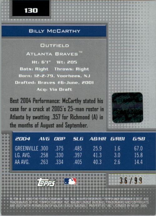 2005 Bowman's Best Silver #130 Billy McCarthy FY AU back image