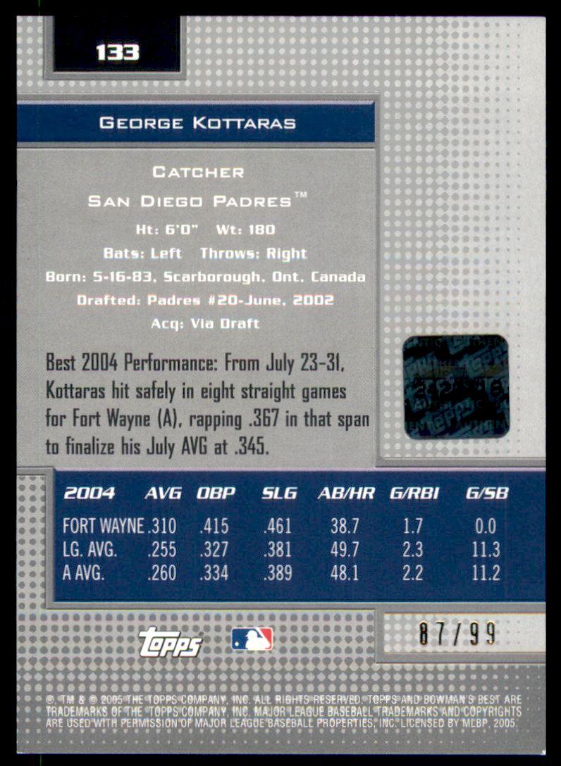 2005 Bowman's Best Silver #133 George Kottaras FY AU back image