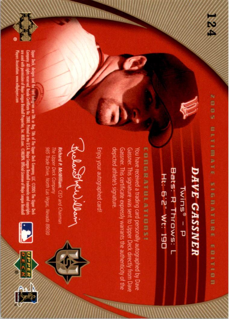 2005 Ultimate Signature #124 Dave Gassner AU RC back image