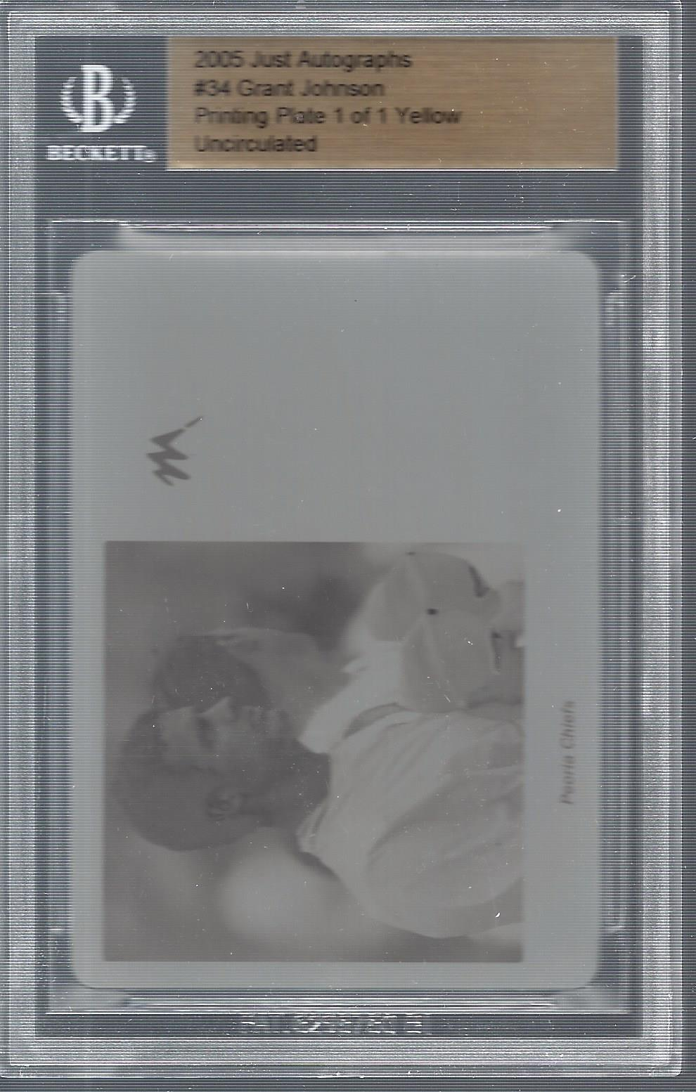2005 Just Autographs Printing Plates Yellow #34 Grant Johnson