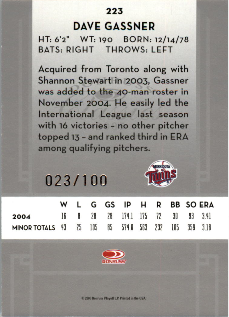 2005 Donruss Classics Significant Signatures Silver #223 Dave Gassner/100 back image