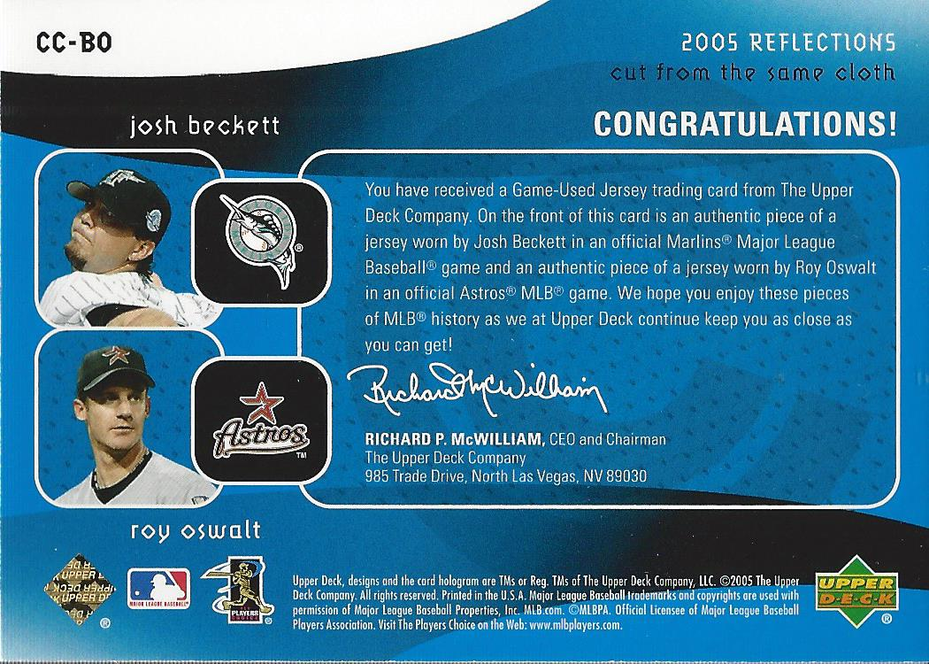 2005 Reflections Cut From the Same Cloth Dual Jersey Blue #BO Josh Beckett/Roy Oswalt back image