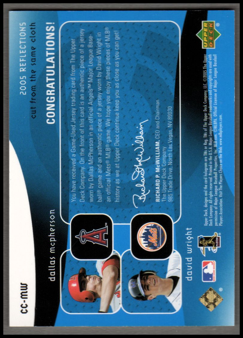 2005 Reflections Cut From the Same Cloth Dual Jersey Blue #MW Dallas McPherson/David Wright back image