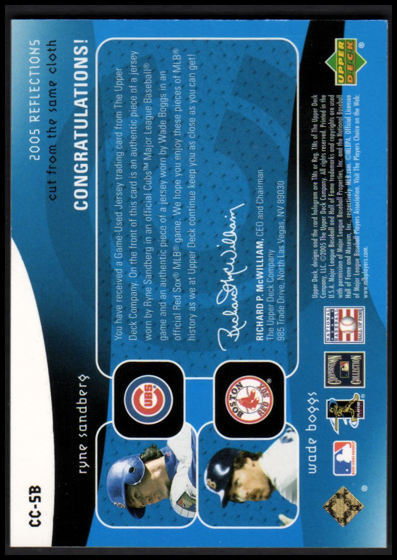 2005 Reflections Cut From the Same Cloth Dual Jersey Blue #SB Ryne Sandberg/Wade Boggs back image