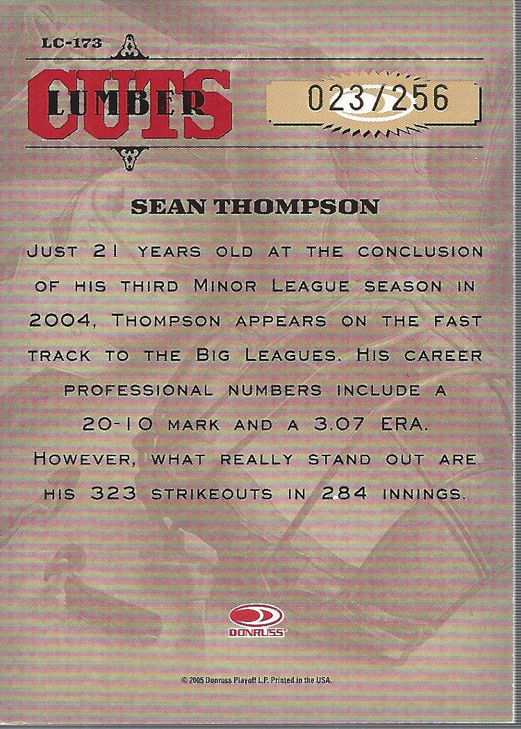 2005 Leather and Lumber Signatures Lumber Cuts #173 Sean Thompson back image