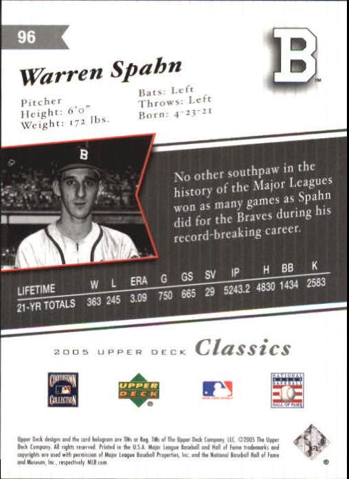 2005 Upper Deck Classics Silver #96 Warren Spahn back image