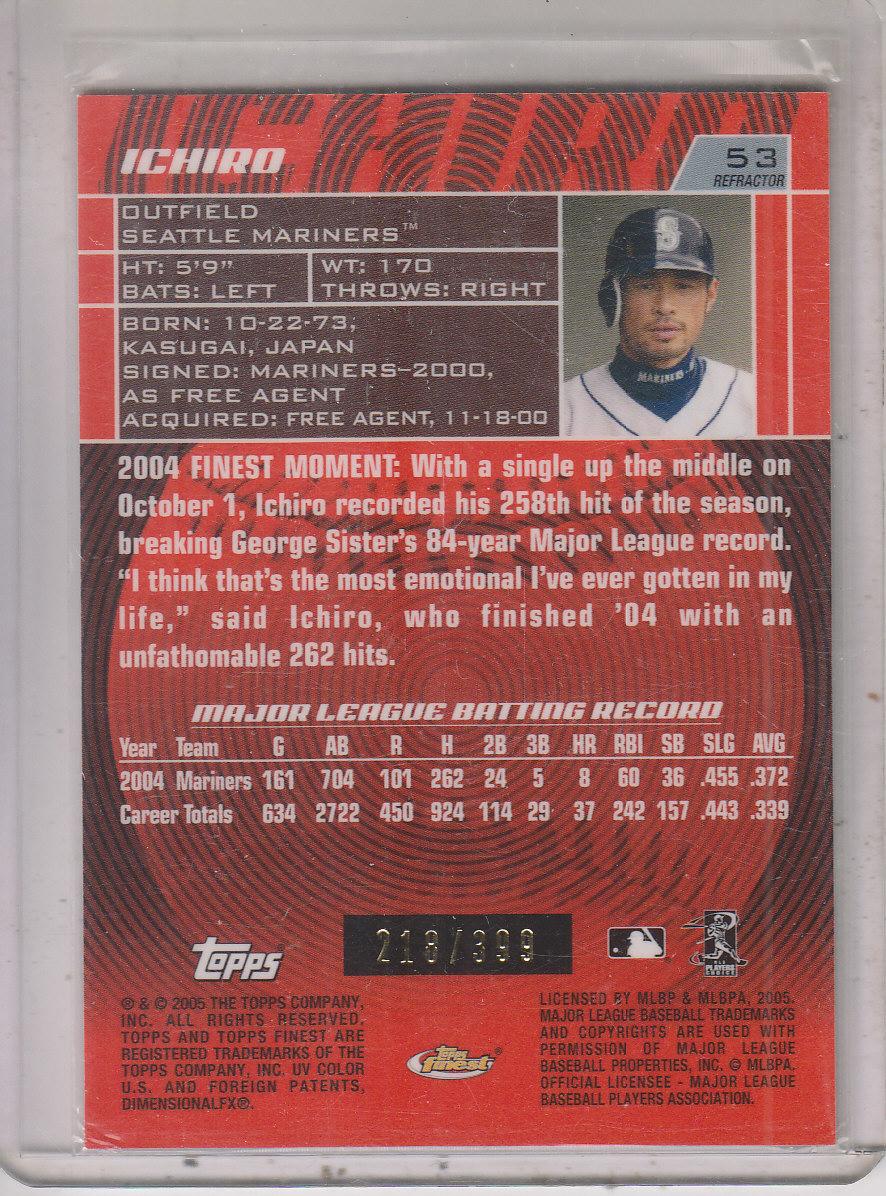2005 Finest Refractors #53 Ichiro Suzuki back image
