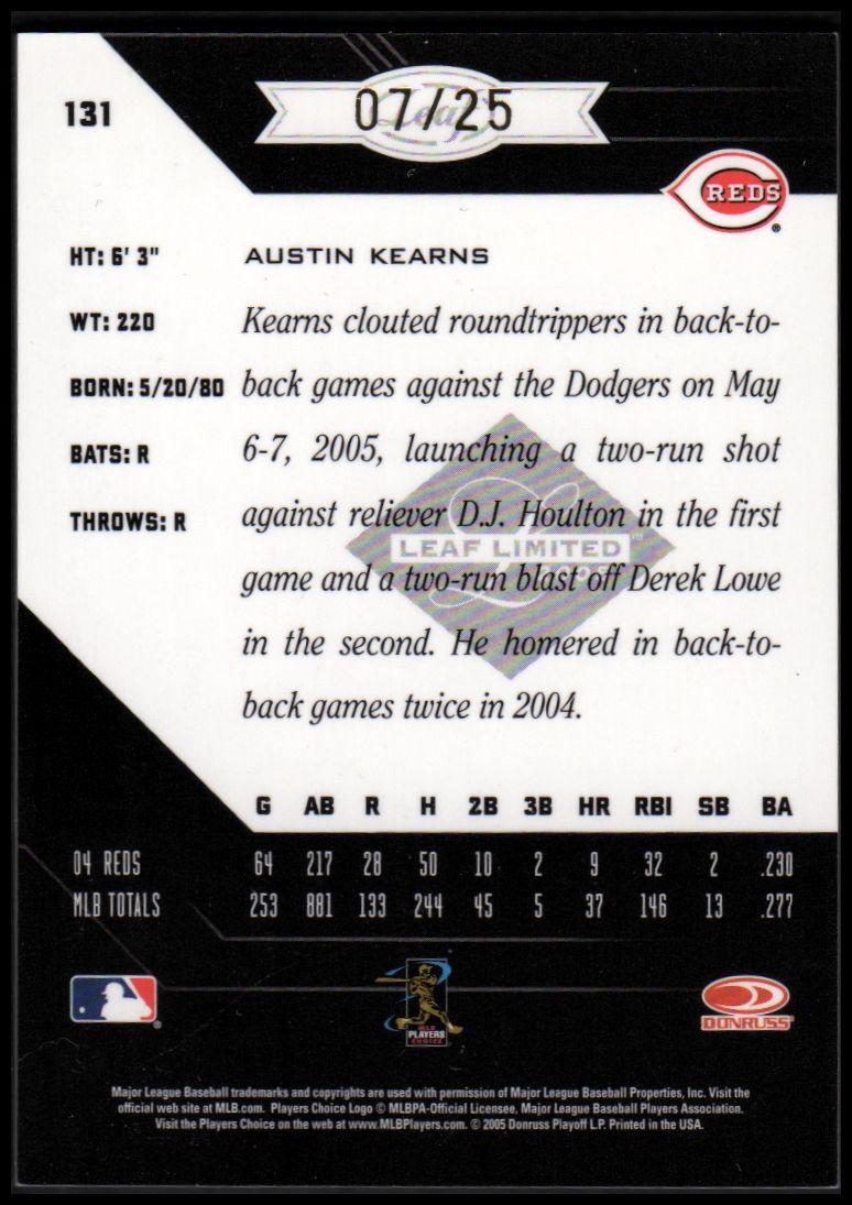 2005 Leaf Limited Monikers Gold #131 Austin Kearns/25 back image