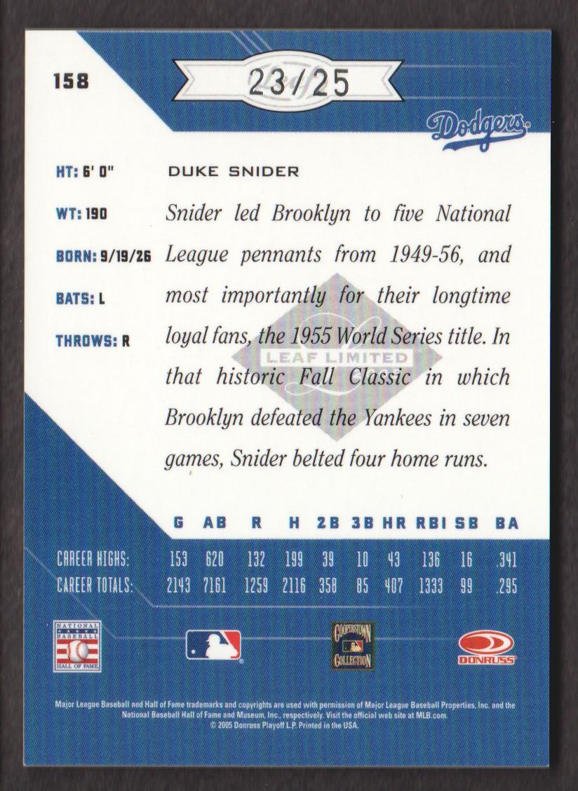 2005 Leaf Limited Monikers Silver #158 Duke Snider LGD/25 back image