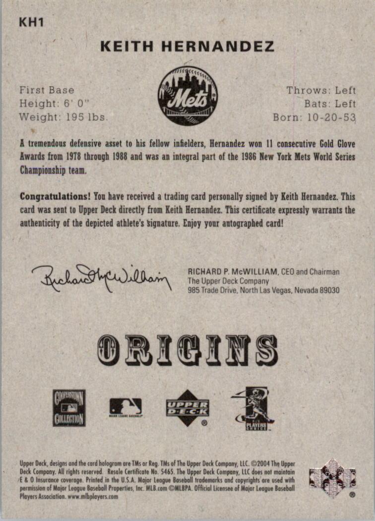 2005 Origins Signatures #KH1 Keith Hernandez T3 back image