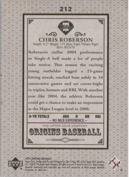 2005 Origins Old Judge Gold #212 Chris Roberson YS back image