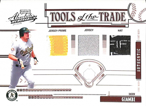 2005 Absolute Memorabilia Tools of the Trade Swatch Triple Prime Red #129 J.Giambi A's H-J-J/35