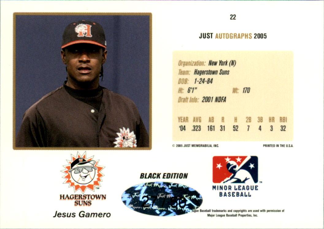 2005 Just Autographs Black #22 Jesus Gamero back image