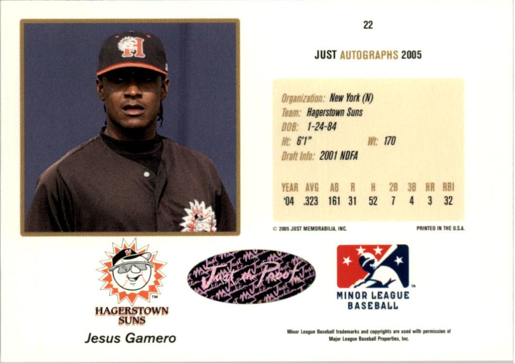 2005 Just Autographs Signatures #22 Jesus Gamero/825 * back image