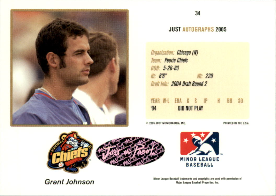 2005 Just Autographs Signatures #34 Grant Johnson/800 * back image