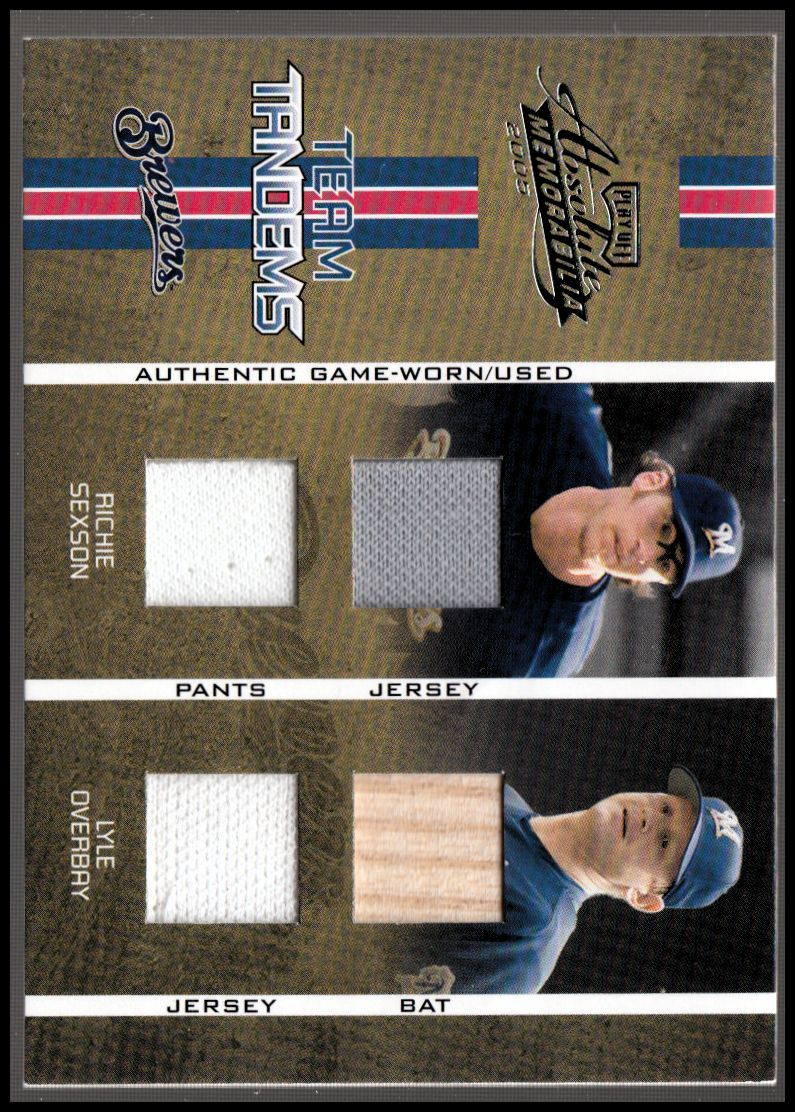 2005 Absolute Memorabilia Team Tandems Swatch Double #TT73 Richie Sexson Jsy-Pants/Lyle Overbay Bat-Jsy/150