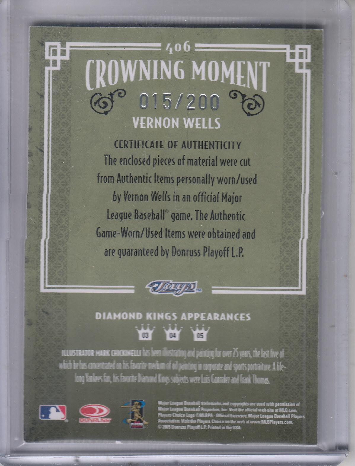 2005 Diamond Kings Materials Framed Red #406 Vernon Wells Jsy-Jsy/200 back image