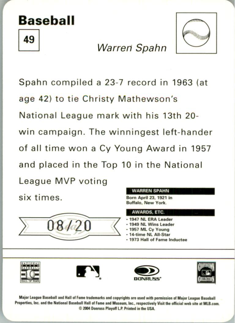 2005 Leaf Sportscasters 20 Beige Batting-Hat #49 Warren Spahn back image