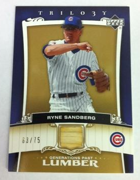 2005 Upper Deck Trilogy Generations Past Lumber Gold #SA Ryne Sandberg/75
