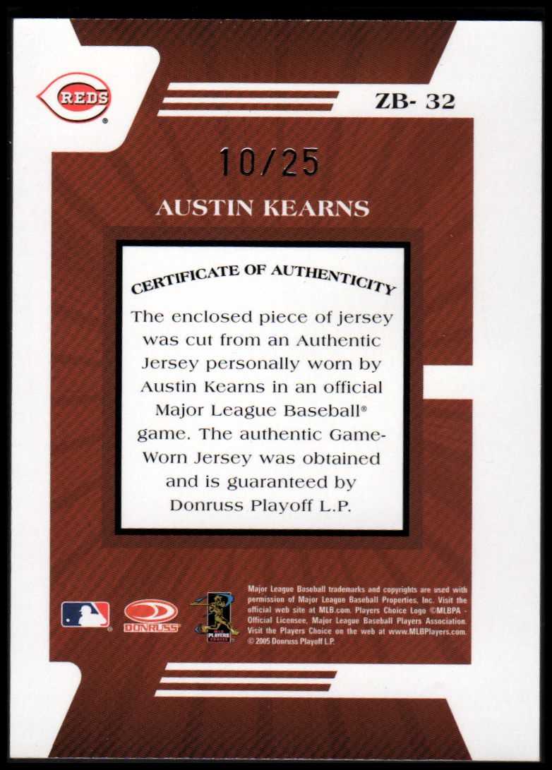 2005 Zenith Z-Jerseygraphs Prime #32 Austin Kearns/25 back image