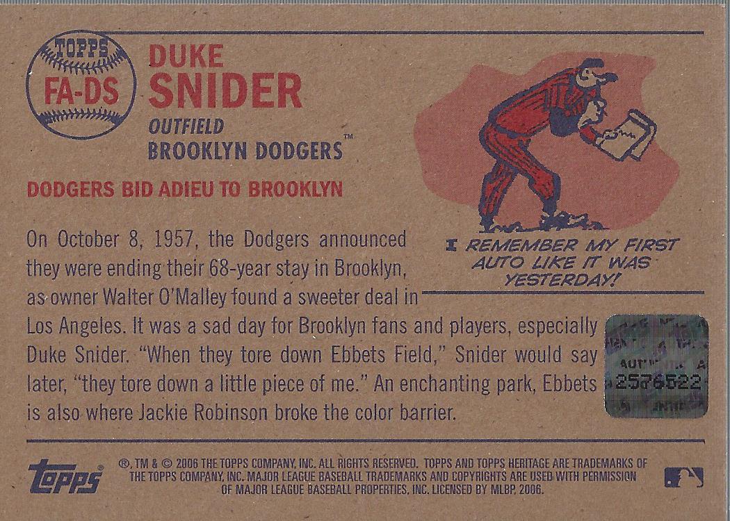 2006 Topps Heritage Flashbacks Autographs #DS Duke Snider back image