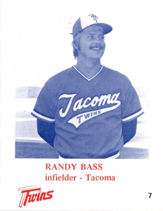 1975 Tacoma Twins KMMO #7 Randy Bass - VgEx+ - Gearhart