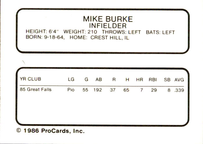 1986 Bakersfield Dodgers ProCards #4 Mike Burke back image