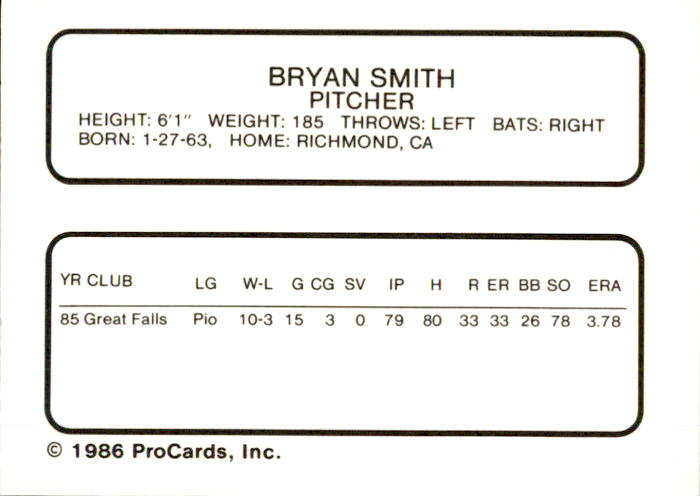 1986 Bakersfield Dodgers ProCards #25 Bryan Smith back image