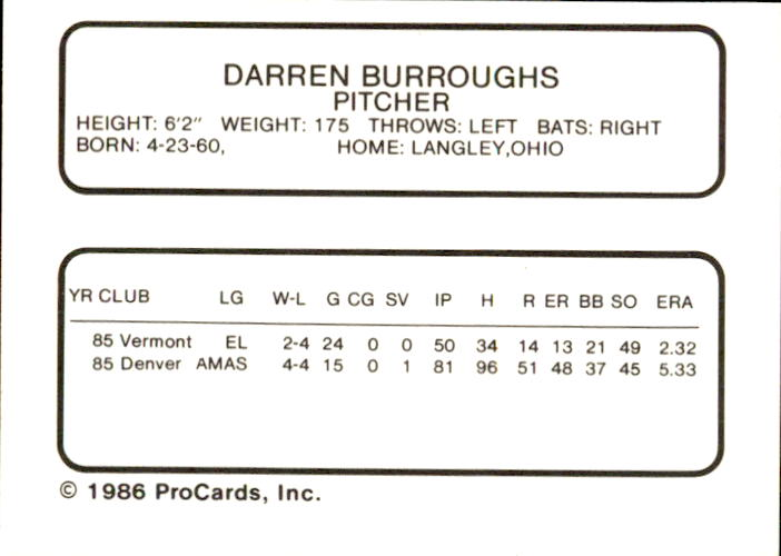 1986 Buffalo Bisons ProCards #6 Darren Burroughs back image