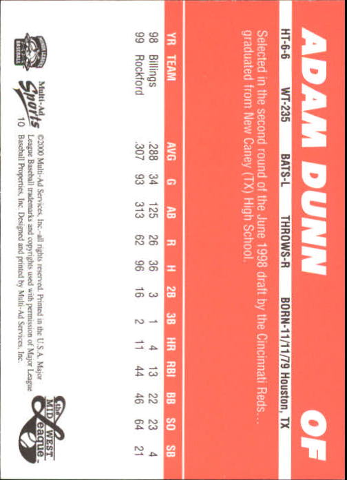 2000 Midwest League Top Prospects Multi-Ad #7 Adam Dunn back image