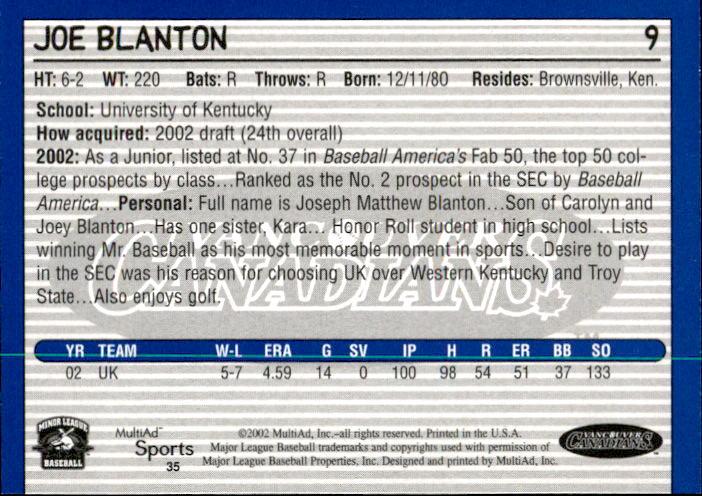 2002 Vancouver Canadians Multi-Ad #35 Joe Blanton back image