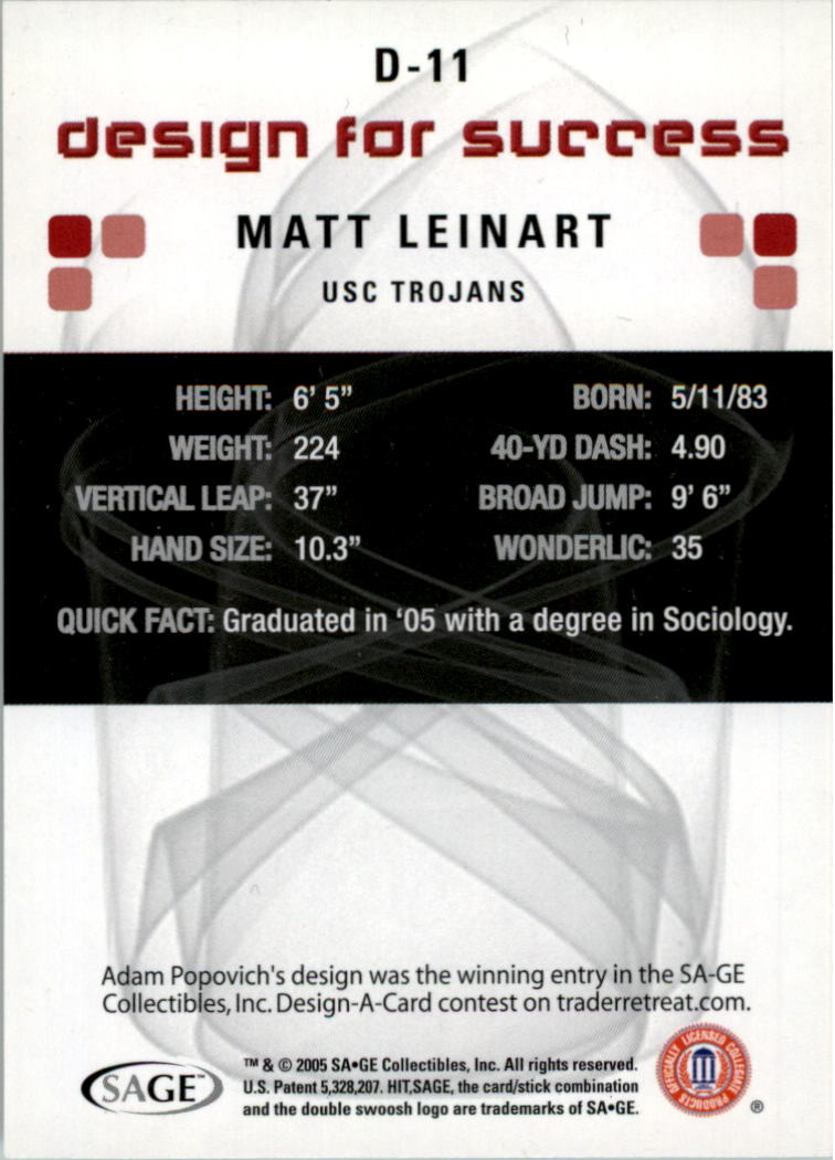 2006 SAGE HIT Design for Success Blue #D11 Matt Leinart back image