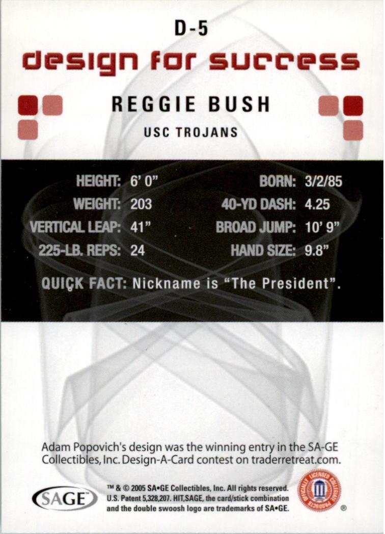 2006 SAGE HIT Design for Success Silver #D5 Reggie Bush back image