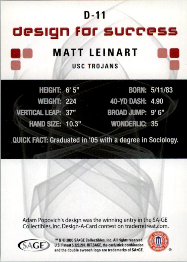 2006 SAGE HIT Design for Success Silver #D11 Matt Leinart back image