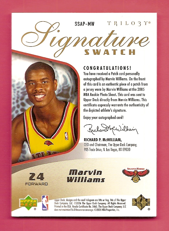 2005-06 Upper Deck Trilogy Signature Swatches Patches #MW Marvin Williams back image
