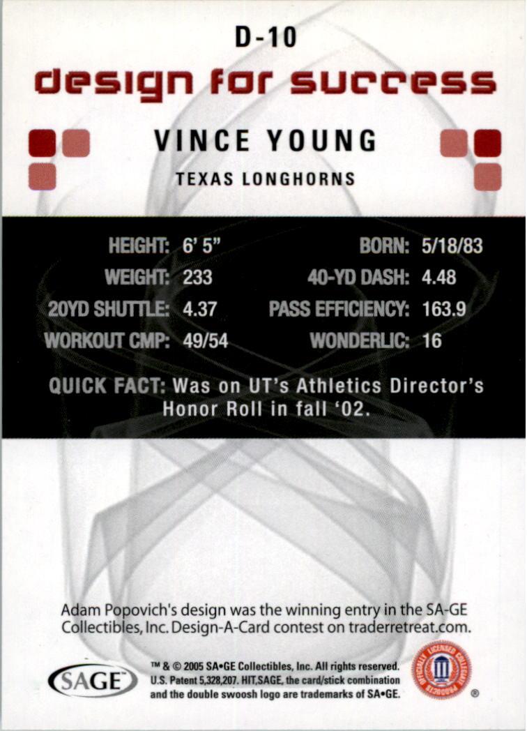 2006 SAGE HIT Design for Success Green #D10 Vince Young back image