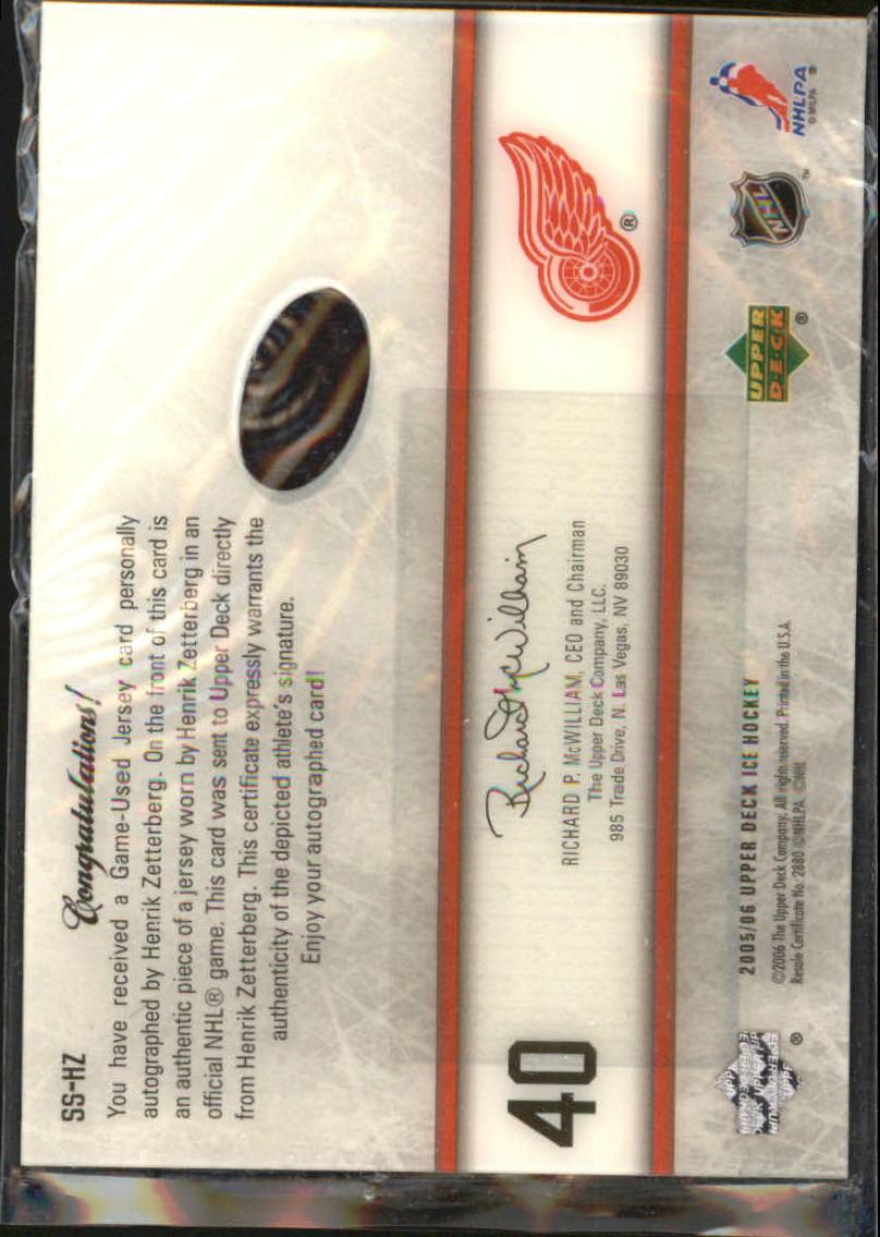 2005-06 Upper Deck Ice Signature Swatches #SSHZ Henrik Zetterberg back image