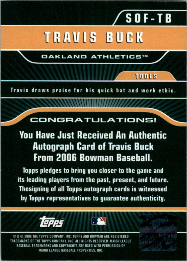 2006 Bowman Signs of the Future #TB Travis Buck D back image